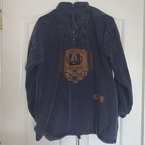 & Me USA denim quarter zip with leather emblem